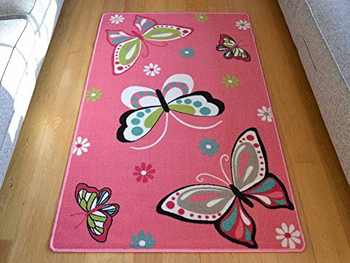 Rugs Supermarket Kids Non Slip Machine Washable Butterfly Play Mat. Available in 3 Sizes