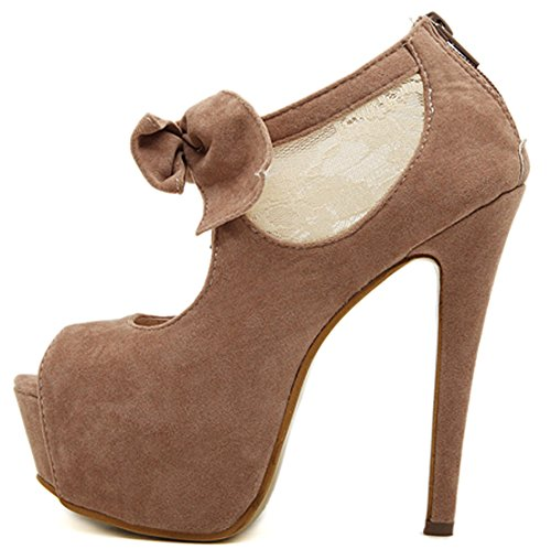 Oasap Lovely Peep Toe Bowknot Trim Platform Stiletto High Heels Camel