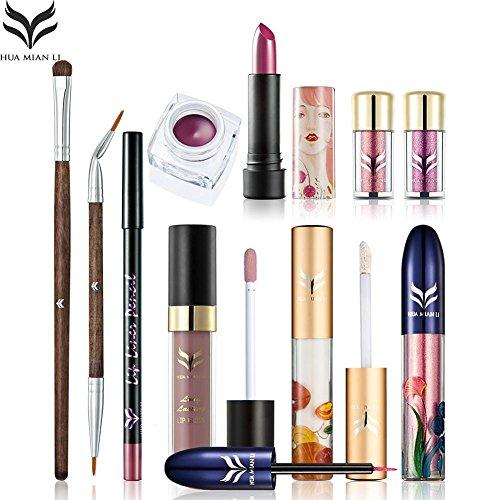 UKZHIDA 10 unids / set combinación delineador de ojos gel sombra de ojos con maquillaje cepillo ojo Corrector lip stick cosméticos