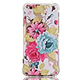 LUOLNH iPhone 7 Plus Case with flowers,iPhone 8 Plus Case, Slim Shockproof Clear Floral Pattern Soft Flexible TPU Back Cover [5.5 inch] -White Rose