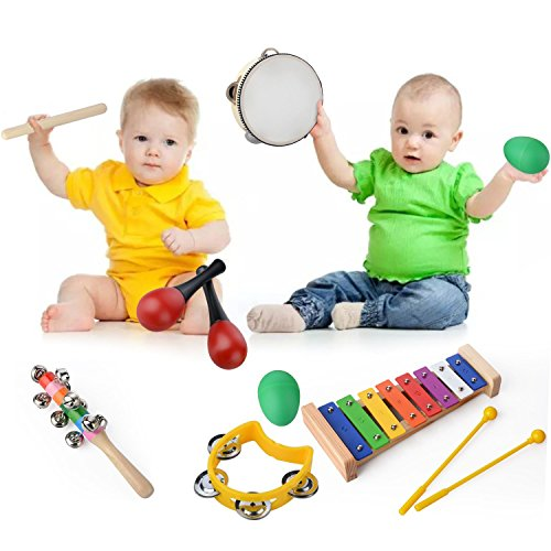 DOOLLAND Musical Instruments Set, 20 Pcs Percussion Toy Toddlers Toys Rhythm Band Set Wooden Xylophone Glockenspiel Toy Boys Girls Gift