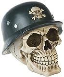 Fantasy Gothic Horror Halloween Deko Totenkopf Skull mit Stahlhelm