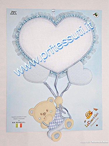 Fiocco nascita palloncino cuore azzurro e orsetto da ricamare
