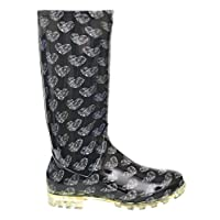 P408 BLACK WITH WHITE PATTERNED HEARTS LADIES WOMENS GIRLS WELLIES RAIN BOOTS SIZES 3 4 5 6 6.5 7 V FESTIVAL READING (UK 4)