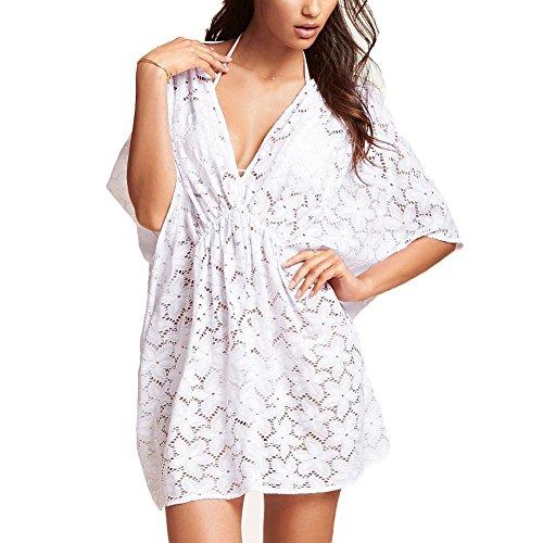 DELEY Frauen Badeanzug Spitze Crochet Hohl Out Bikini Cover Up Shirt Bademode Beach Kleid White (Crochet Cover Up Beach)