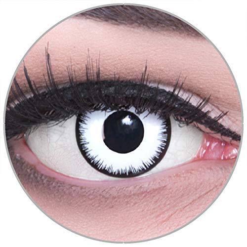 Funnylens Farbige schwarze Kontaktlinsen Lunatic mit Stärke - weich ohne Stärke 2er Pack + gratis Behälter - 12 Monatslinsen - perfekt zu Halloween Karneval Fasching oder Fasnacht -3.50
