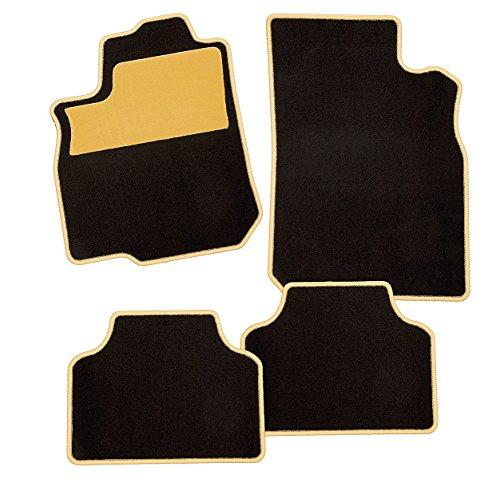 CarFashion 237623Colori Gelb C03, Auto Fussmatte in schwarz, Automatten, gelber Trittschutz, gelbe Hochglanz Kettelung, Auto Fussmatten Set ohne Mattenhalter