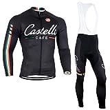Neue Outdoor Sports Mens-Fahrrad-Jersey Langarm-Radtrikot und Trägerhose Set Breathable Quick-dry