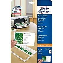 AVERY Zweckform C32011-10 Superior Visitenkarten (100 Stück, 85 x 54 mm, einseitig bedruckbar, matt, 10 Blatt)