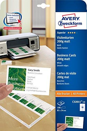 AVERY Zweckform C32011-10 Superior Visitenkarten (100 Stück, 85 x 54 mm, einseitig bedruckbar, matt, 10 Blatt) (Drucker Papier Mit Designs)