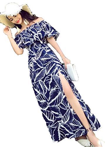 JRhong Boho Carmen-Ausschnitt Strandkleider Schlitz Lang Kleider Rüschen One Shoulder-Kleider...