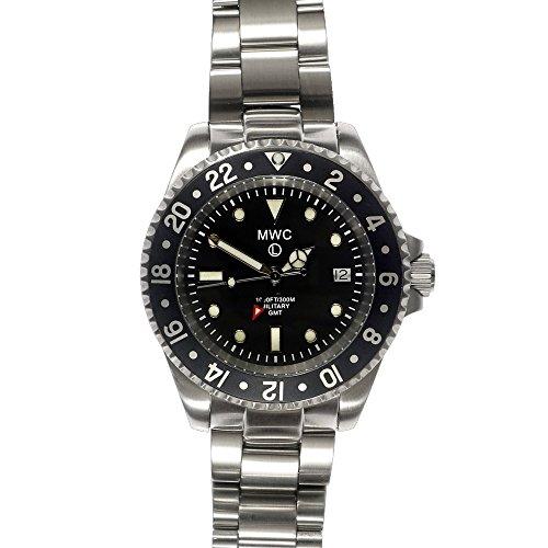 6d4fef0ad42b MWC Swiss Quartz GMT 300 M Submariner negro reloj de pulsera para hombre de  acero inoxidable