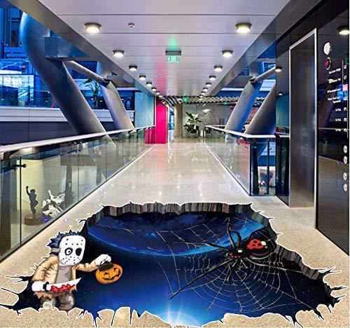 Hanjiming Kleine Geist Spinne Bat Halloween Wandaufkleber 3D Pvc Kunst Boden Aufkleber Festliche Wohnkultur Wandbild Poster Zitat 45 * 60 Cm 1 Stücke
