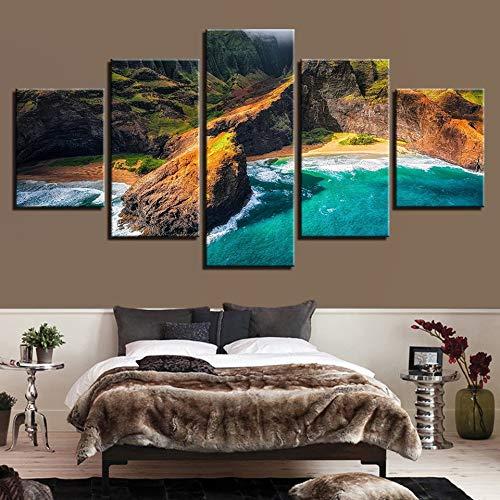 ndkunst Poster Dekoration 5 Panel Kauai Hawaii Landschaft Wohnzimmer Modulare Bilder ()