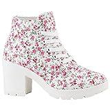 Stiefelparadies Damen Schnürpumps Schnürstiefeletten Stoff Ankle Boots Stiefeletten Schnürer Sportliche Pumps Schuhe 142098 Weiss Blumen 36 Flandell