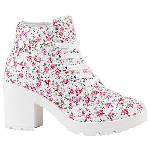 Stiefelparadies Damen Schnürpumps Schnürstiefeletten Stoff Ankle Boots Stiefeletten Schnürer Sportliche Pumps Schuhe 142098 Weiss Blumen 39 Flandell