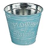 Vintage Pflanztopf aus Metall, verwendbar als Blumentopf oder zur Dekoration, 4 Pastellfarben erhältich, 3D-Imprint Flowers & Garden, 13,5 x 12 cm (H x B), passend zum Vintage-Look und Shabby-Stil., Farbe:blau