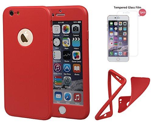 """xhorizon TM Stoßfeste weiche Schutzhülle aus 360 Grad ultradünner und zweischichtiger TPU für volle Deckung für iPhone 6 / iPhone 6S (4.7"""") Rote + 9H Tempered Glass Film"""