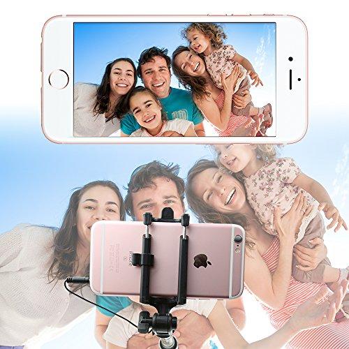 Selfie Stick,Coolreall Selfie Stangen Ausfahrbar Kabelgebunden Stab für iPhone 6s 6 Plus SE 5S 5C 5,Samsung Galaxy,Android und andere Smartphones (Schwarz) - 6