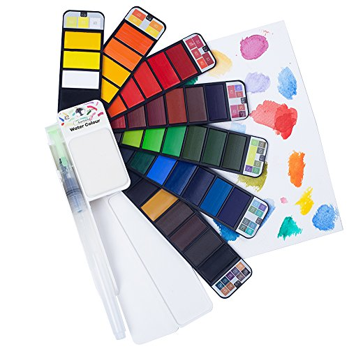 Fuumuui 42 Assorted Aquarell Farben Set Reisetasche Feld Skizze Kit mit Wasser Farbe Pinsel, Watercolour Paint Set Perfektes Geschenk für die Malerei auf dem Sprung
