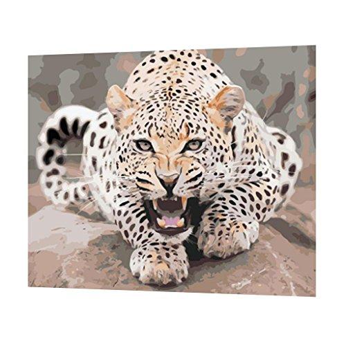 MagiDeal Malen nach Zahlen für Erwachsene Kinder 40x50cm Leinen Segeltuch DIY ölgemälde ölfarben Weihnachten Geschenke - Jagd Leopard, 40x50cm -