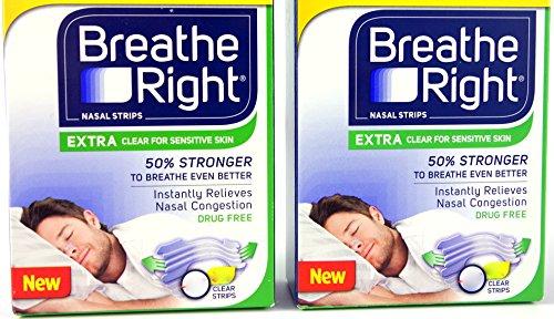 DOPPLEPACK: Breathe Right durchsichtige Nasenplaster: 2x 44 St. (= 88 St.) NEU: Eine einzige Einheitsgröße und 50% stärkeres Material