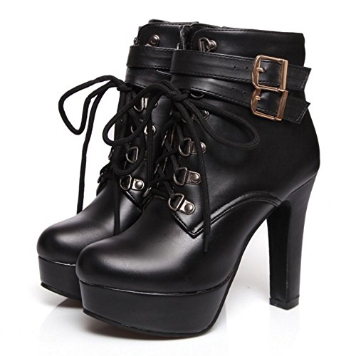 Zanpa Femmes Chaussures Mode Plateforme Martin Bottes Block Black