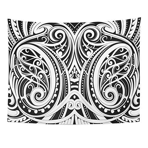 Tapestry art decor, tapestry wall hanging wall tapestry black tattoo maori style ethnic polynesian tribal spiral swirl aboriginal curl tapestries bedroom living room dorm