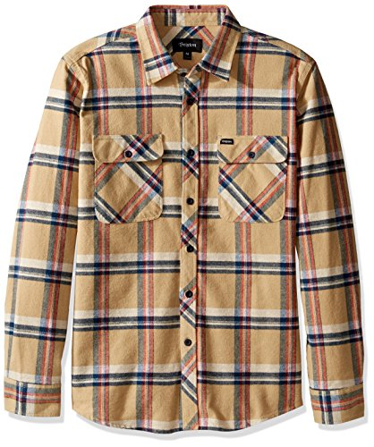 Tan Plaid Shirt (Brixton Men's Bowery Long Sleeve Flannel, Tan Plaid, Small)