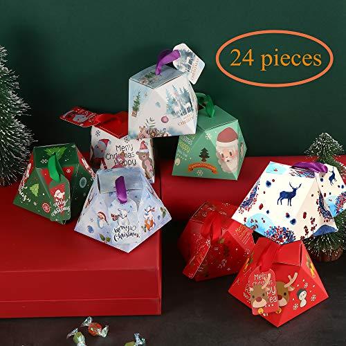 wordmo Weihnachten Geschenkbox 24 Stück bunt Kästchen Geschenkschachtel in 8 Farbe, Geschenk-Box für Süßigkeiten,Schokolade, Kuchen Gebäck Kästchen für Weihnachten Geburtstage Hochzeiten Kinderparty