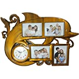 [Sponsored]GS Family Photo Frame | Dolphin Shaped | 4 In 1 Photo Frame With Clock | Best For Home Decor (Orange)