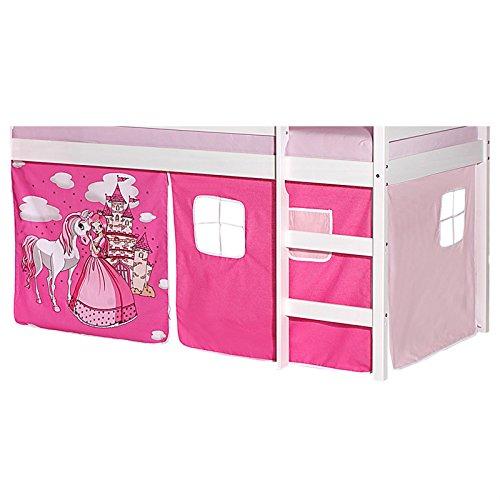IDIMEX Vorhang Gardine Bettvorhang PRINZESSIN zu Hochbett Rutschbett Spielbett in pink/rosa Schloss