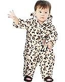 Minetom Mixte Bébé Fille Garçon Coton Grenouillère Combinaisons Ensembles Épais Barboteuse À Capuche Enfants Hiver Chaud Cartoon Pyjama A-Vache Marron 59