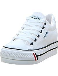 d370ed4d94cc wealsex Basket Mode Toile Plate Femme Plateforme Semelle Epaisse Chaussure  Tennis Confort Sneakers Basse