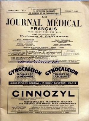 JOURNAL MEDICAL FRANCAIS (LE) [No 7] du 01/07/1936