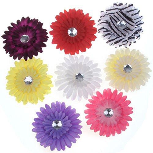 SODIAL(R) 8 x Pinces Epingles a Cheveux avec Fleur de Marguerite et Strass pour Bebe Filles