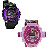 Shanti Enterprises Combo Barbie 24 Images Projector Watch And Sports Watch Multi Color Dial For Kids