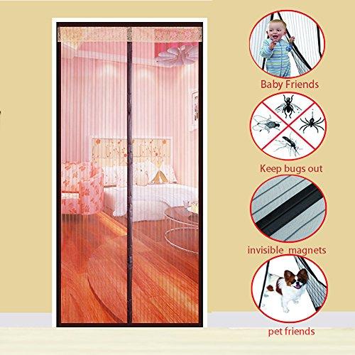 Magnet vorhang, Heavy-duty Moskito vorhang Selbstklebend Magnetischer soft garn vorhang Mesh-vorhang Hält mücken-braun 90x230cm(35x91inch)