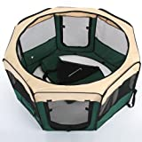 Amzdeal Dog Playpen Pet Cat Rabbit Portable Folding Cage 600D Oxford Waterproof Tent- Green (18 Inch * 23 Inch)