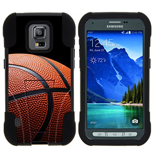 TurtleArmor - Kompatibel mit Samsung Galaxy S5 Active Hülle - G870 [Gel Max] Hybrid Stoßfest Kickstand Case Silikon Hard Dual Cover Sport and Games Design - Basketball Nähte (Boost Mobile S5 Telefon)