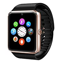 VOSMEP 2016 New Smartwatch Watch Phone support Facebook Twitter with Bluetooth 3.0 come with 8G TF Card Smart Wrist Watch Wrap Phone Sport Bracelet with Camera 1.54 inch Touch Screen for Android Samsung, HTC, LG Supports SIM/TF Smartphones (Champagne) SM9