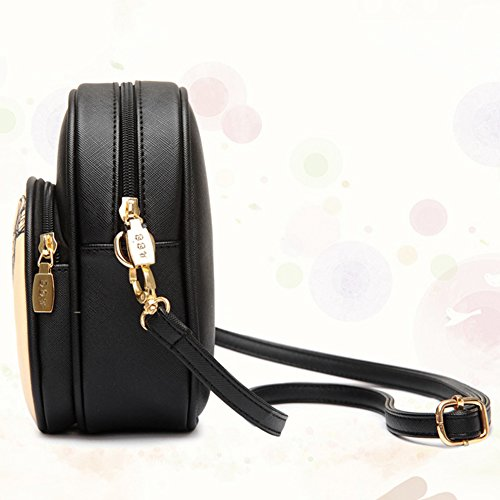 Moollyfox Donne Zip PU Cuoio Mini Cartoon Crossbody Borse a Tracolla Borse a Spalla Nero