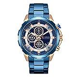 Skryo Reloj de cuarzo resistente al agua, con calendario redondo, reloj de negocios de los tres ojos de la moda masculina (Blue)