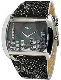 Moog Paris Skyline Reloj para Mujer con Esfera Negra, Correa Negra y Plateada de Piel Genuina y Cristales Swarovski - M41882-105