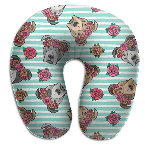 Travel Pillow,All The Pit Bulls Floral Crowns Teal Stripes Memory Foam U Neck Pillow for Lightweight Support In Airplane,Car,Train,Bus -