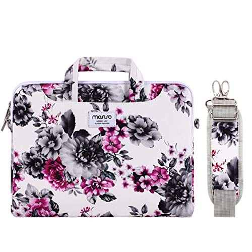 MOSISO Laptoptasche Schultertasche Kompatibel 13-13,3 Zoll MacBook Air, MacBook Pro Retina, Surface Laptop 2 2018, Surface Book, Canvas Muster Tasche mit Zurück Trolly Gürtel, Weiß Basis Chrysantheme