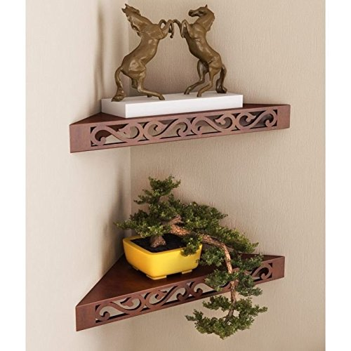 Onlineshoppee Wooden Decorative Wall hanging Shelves for Living room empty wall corners - Set of 2 Brown