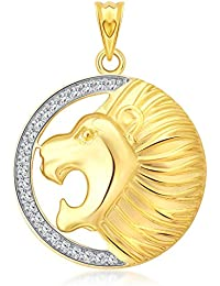 Vighnaharta Lion (CZ) Gold And Rhodium Plated Alloy Pendant For Men And Boys- [VFJ1189PG]
