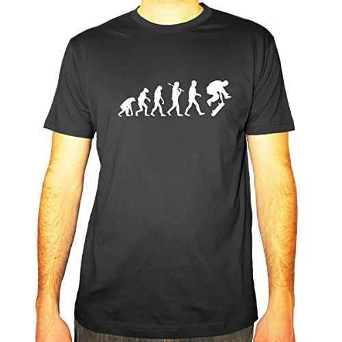Shirtfun24 Herren Evolution Skateboarder Skateboard Fun T-Shirt, Darkgrey Grau, M
