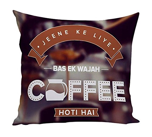 Dream Weaverz Stylish 3D Printed Velvet Cushion Cover with eye-catchy Coffee Design Quote for Home and Cafe (16*16 inch)- Coffee  available at amazon for Rs.199
